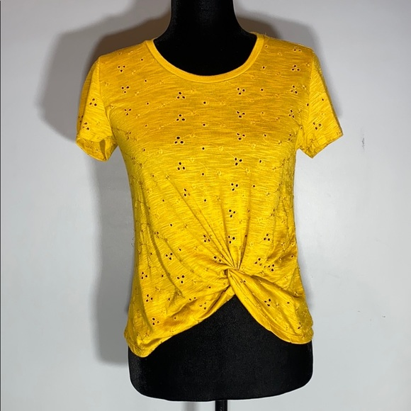 NWT Francesca's Inverted Knot Eyelet Mustard Top